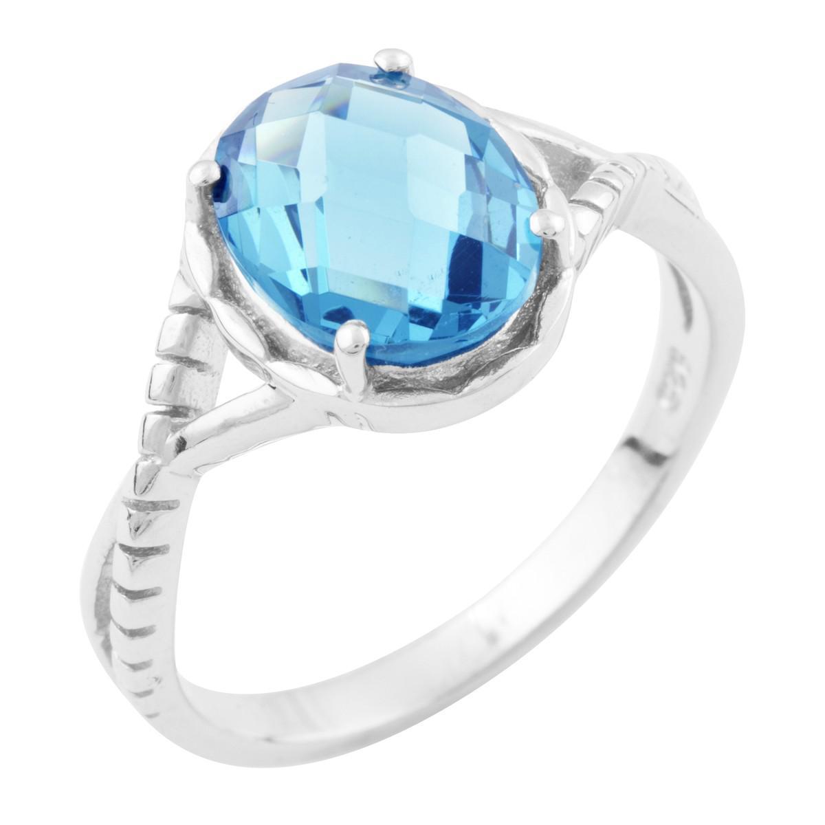 Серебряное кольцо pSilverAlex с натуральным топазом Лондон Блю (1634288) 18 размер