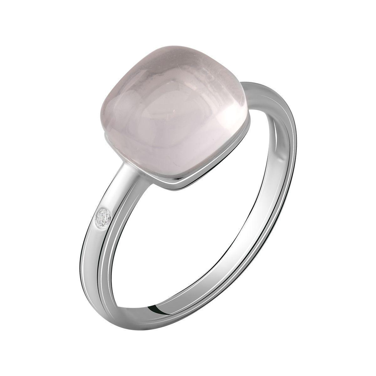 Срібне кільце pSilverAlex з натуральним рожевим кварцом (2069850) 18 розмір 2.9, 17.5
