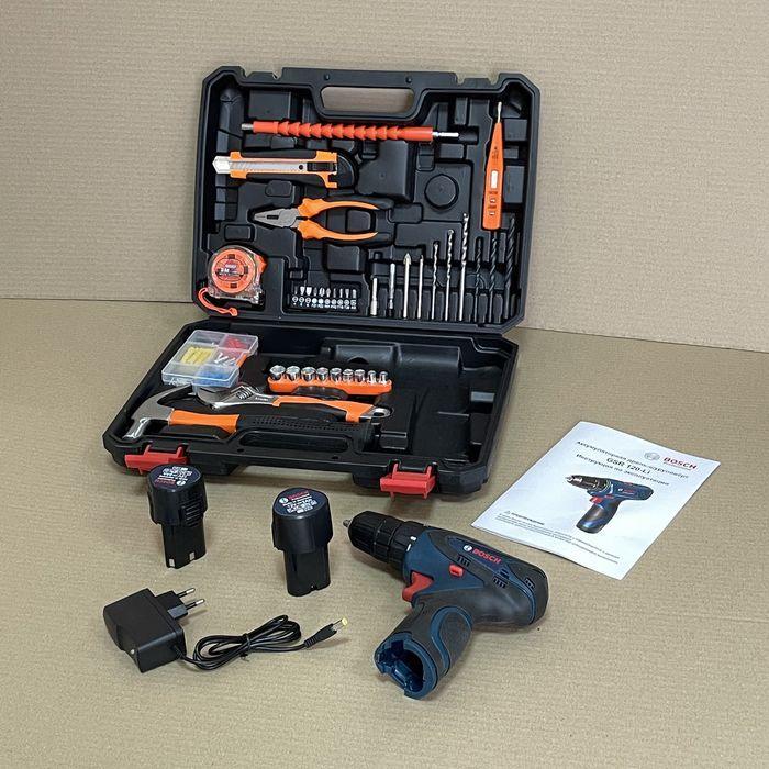 Акумуляторний шуруповерт BOSCH GSR 120Li C набором інструментів і гнучким валом Акумуляторний шуруповерт Bosch