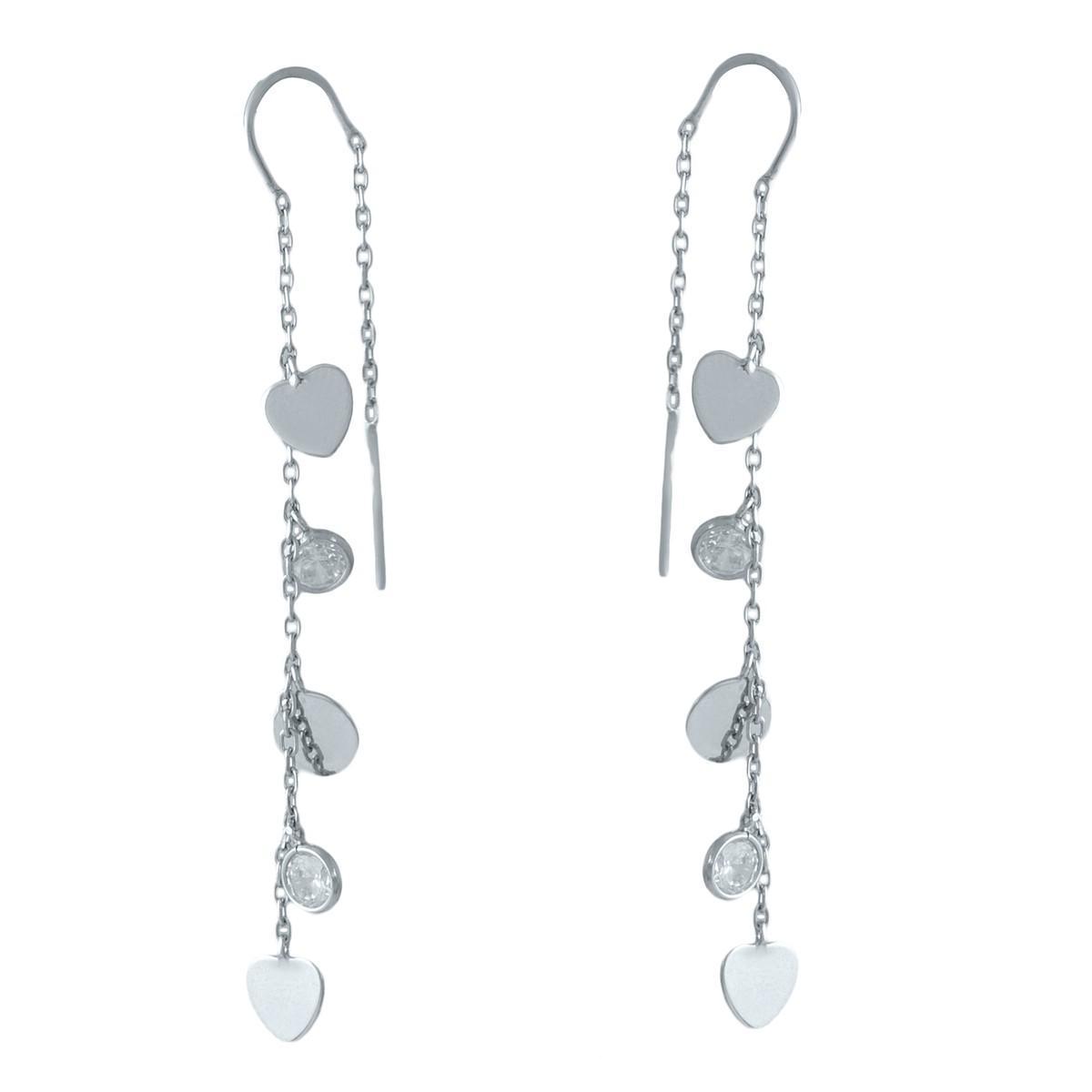 Срібні сережки pSilverAlex з фіанітами (1983058)