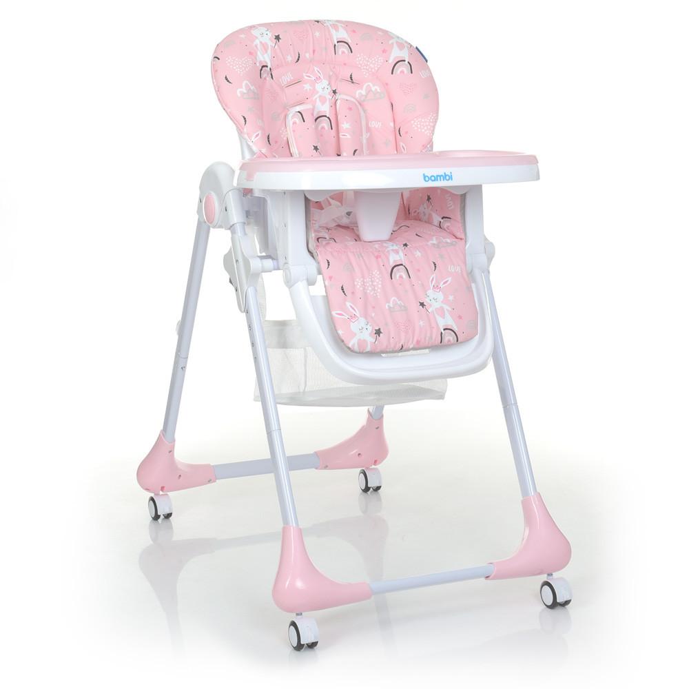 Стульчик для кормления Bambi M 3233 Rabbit Girl Pink с выдвижным столиком на 4 колесах