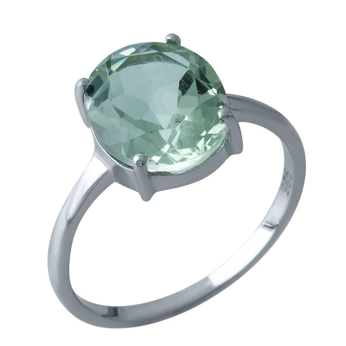 Серебряное кольцо pSilverAlex с натуральным зеленим аметистом 3.978ct (1964231) 18.5 размер