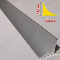 Плінтус алюмінієвий накладний для стільниць14,8 мм х 14,8 мм, довжина 3 м, срібло анодоване