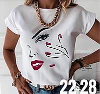 Женская стильная футболка с ярким рисунком, фото 1