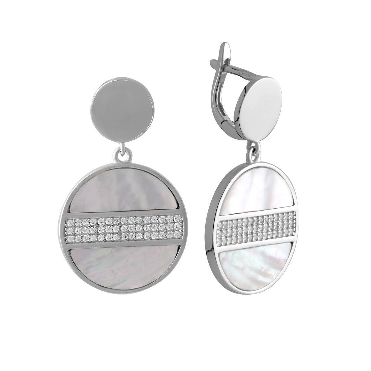 Серебряные серьги pSilverAlex с натуральным перламутром (2044635)