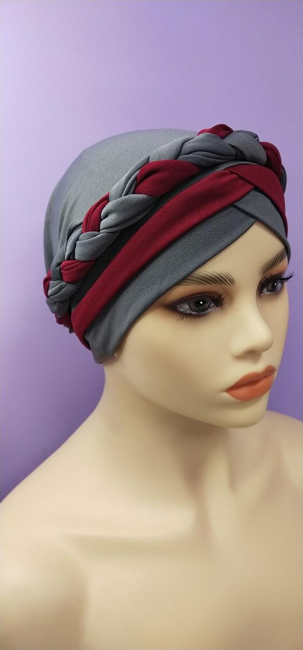 Шапка чалма тюрбан двухцветная  с косой серо красная
