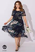 Летнее шифоновое платье с цветочным принтом. Модель 31358. Размеры 52-58
