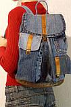 Рюкзак из джинсов и ярко рыжей кожи, фото 9