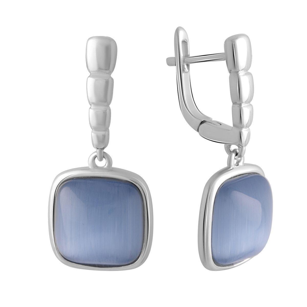 Серебряные серьги pSilverAlex с кошачим глазом (2015574)
