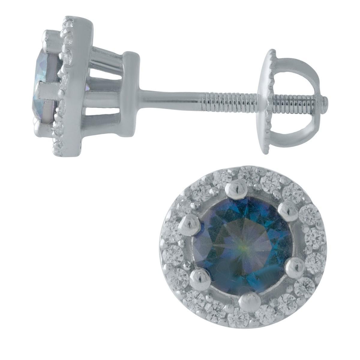 Серебряные серьги pSilverAlex с натуральным мистик топазом (2007654)