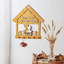 Деревянная ключница настенная Домик с котами