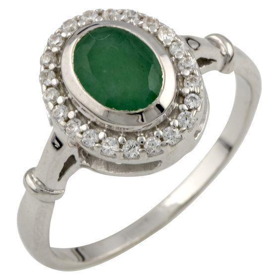 Серебряное кольцо pSilverAlex с натуральным изумрудом 0.77ct (0466521) 17.5 размер
