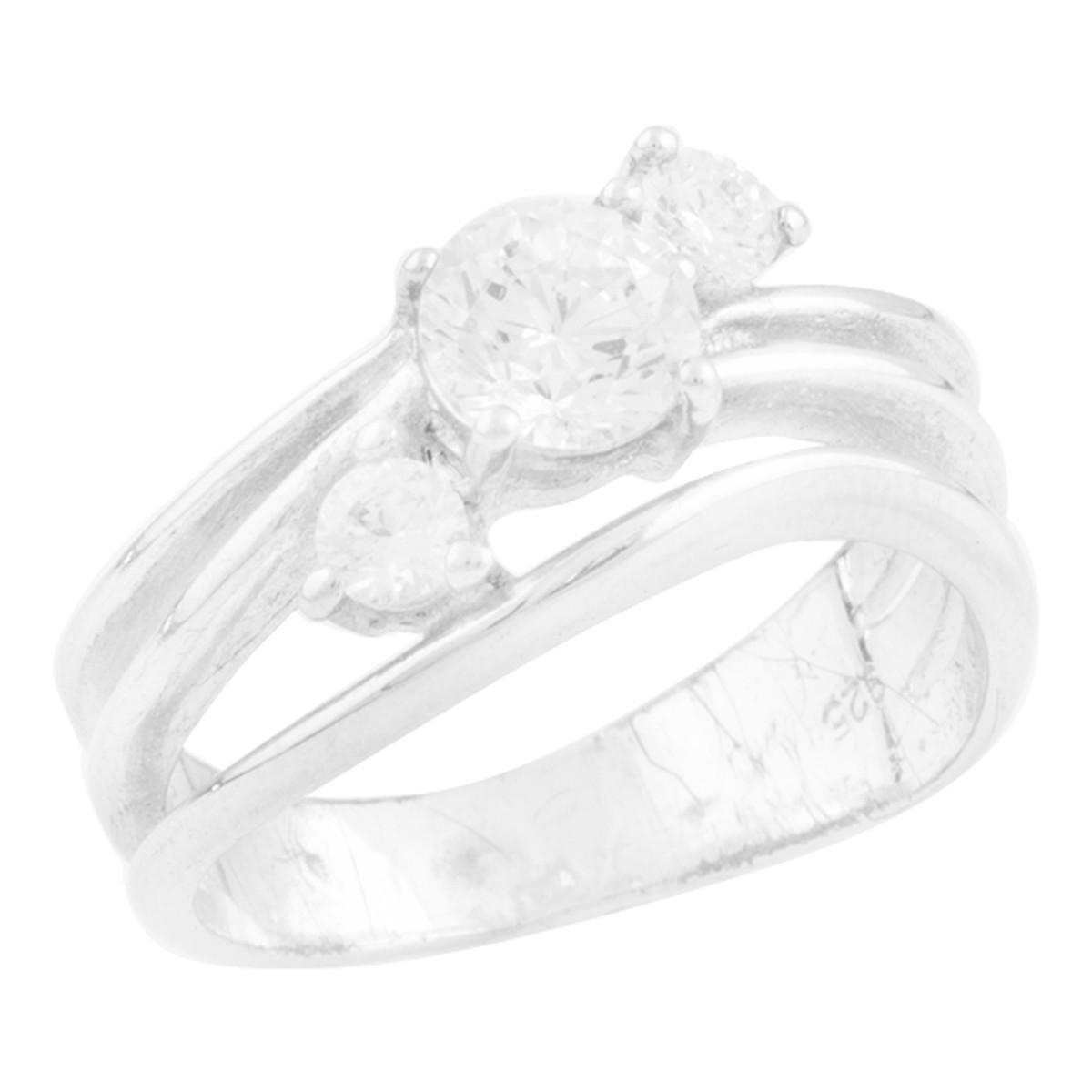 Срібне кільце pSilverAlex з фіанітами (0407678) 16 розмір