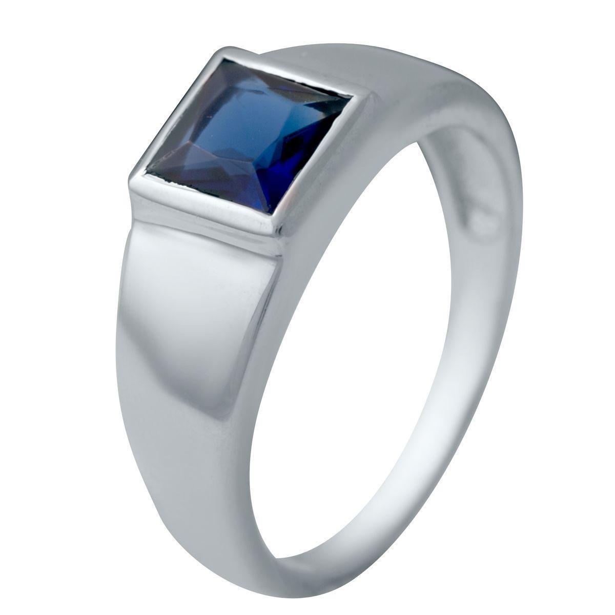 Серебряное кольцо pSilverAlex с сапфиром nano (2033134) 18 размер