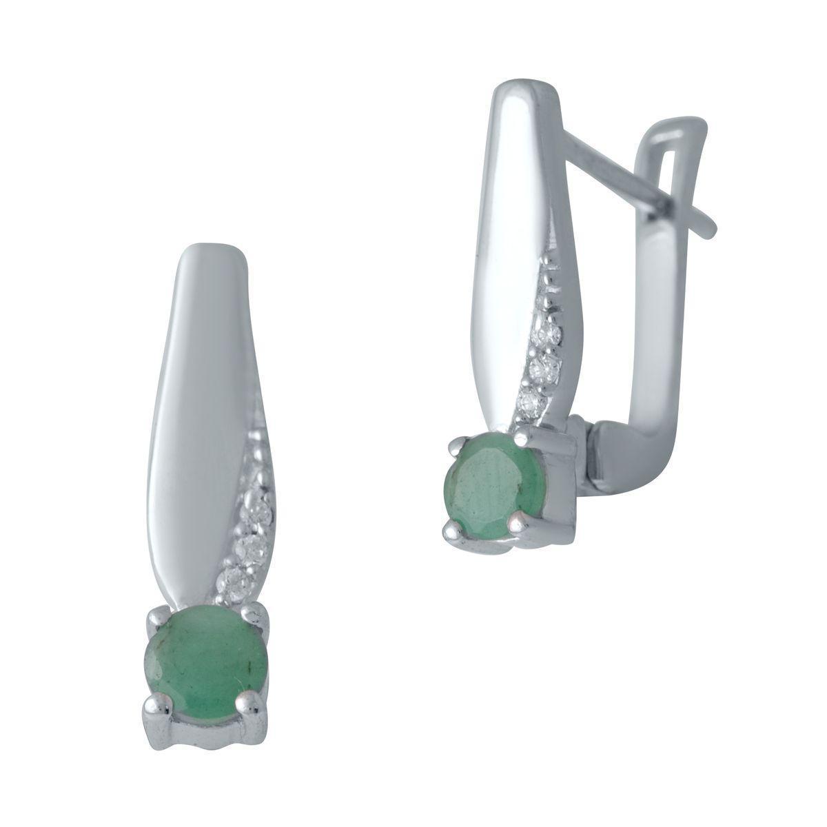 Срібні сережки pSilverAlex з натуральним смарагдом (2032076)