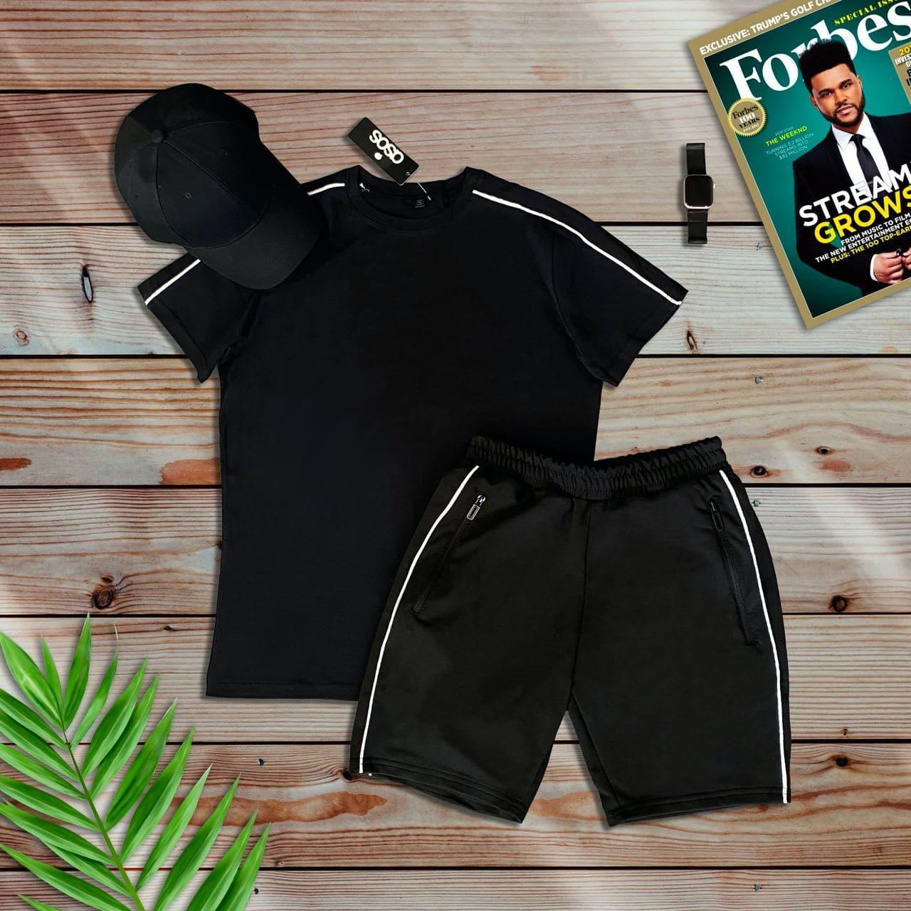 Комплект спортивный (шорты + футболка) черный. Мужской спортивный костюм футболка + шорты черного цвета.