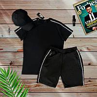 Комплект спортивный (шорты + футболка) черный. Мужской спортивный костюм футболка + шорты черного цвета., фото 1
