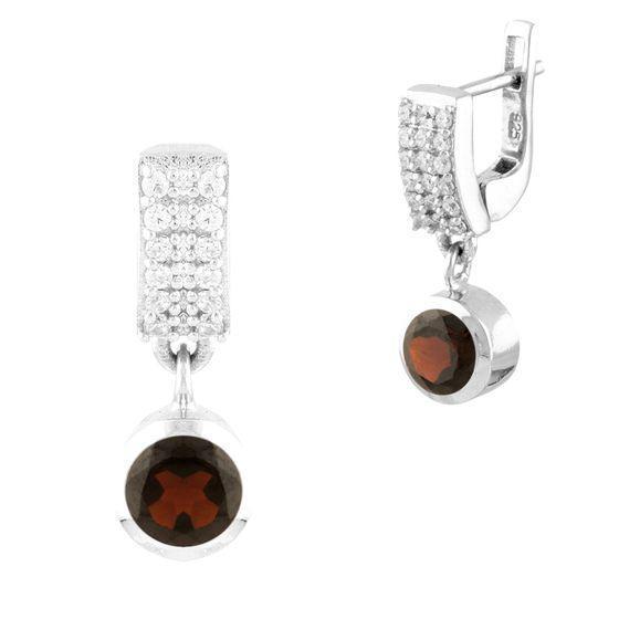 Серебряные серьги pSilverAlex с натуральным гранатом (1451694)
