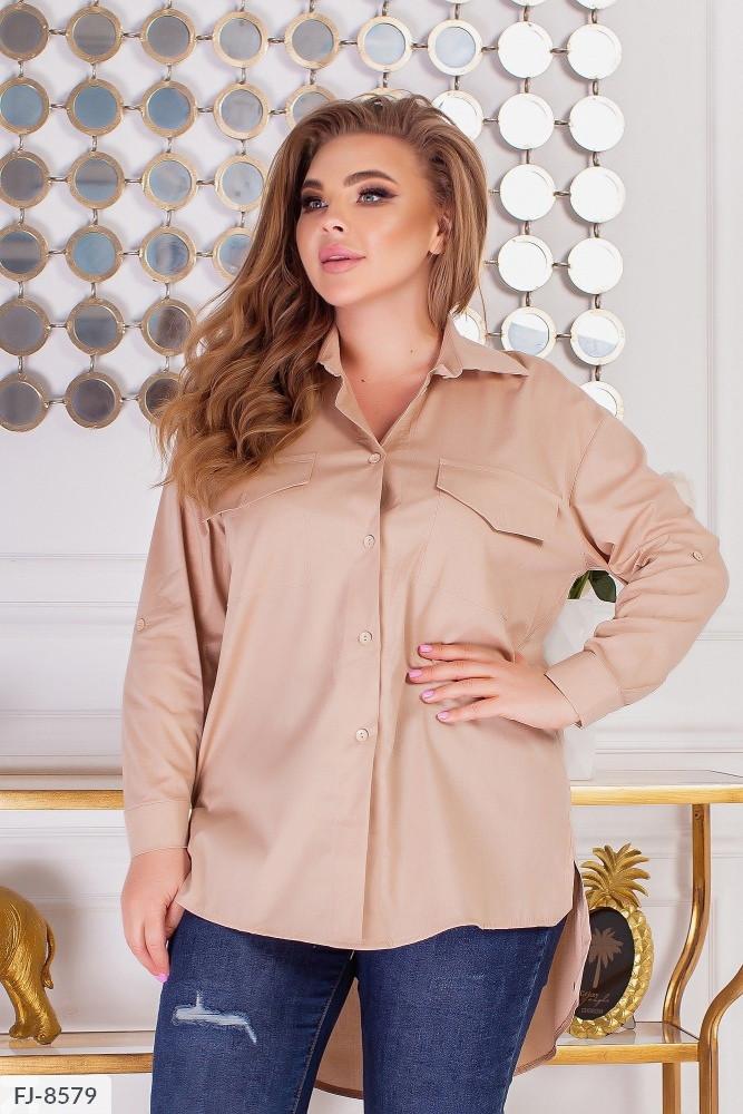 Жіноча сорочка блузка з накладними робочими кишенями (Батал)