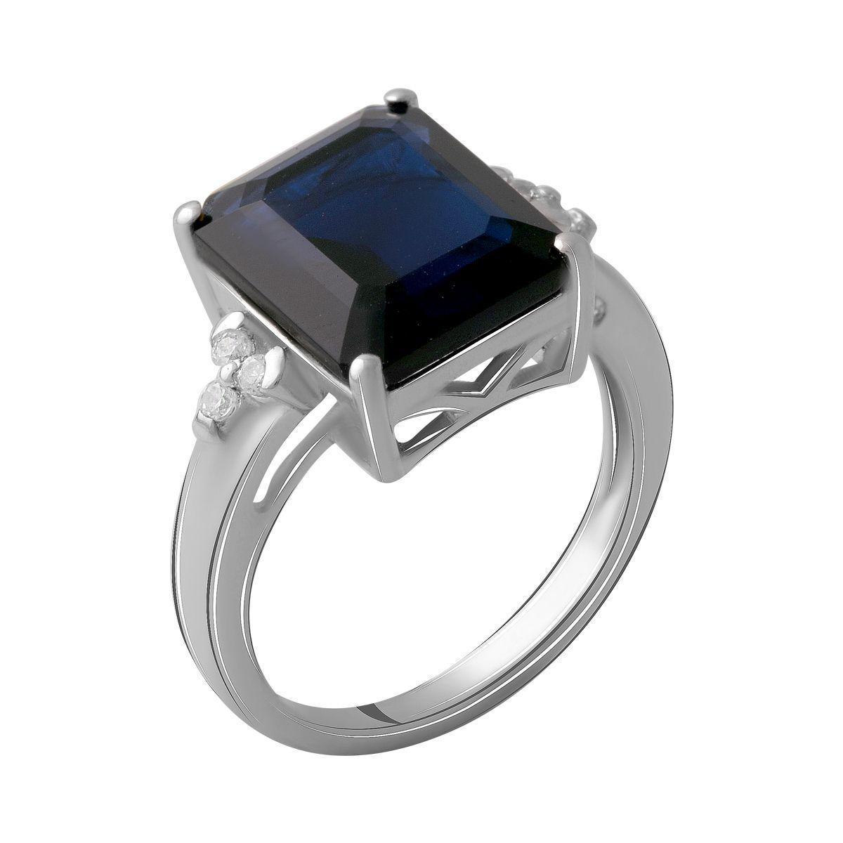 Серебряное кольцо pSilverAlex с сапфиром nano 4.748ct (2061908) 18 размер