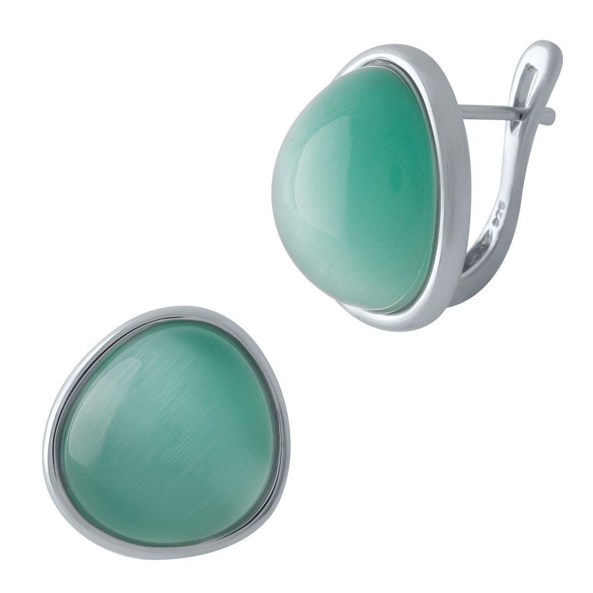 Серебряные серьги pSilverAlex с кошачим глазом (1974506)