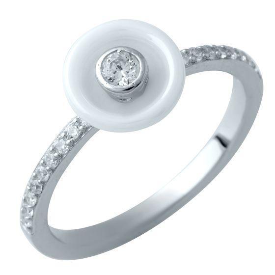 Серебряное кольцо pSilverAlex с , керамикой (1908464) 18 размер