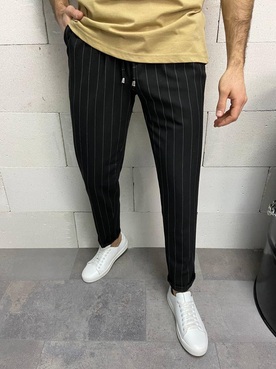 Чоловічі штани чорні смугасті