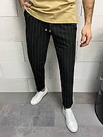 Чоловічі штани чорні смугасті, фото 1