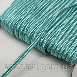 Цвет бирюзовый шнур сутажный плоский 3мм, моток 46м. (СИНДТЕКС-1099)