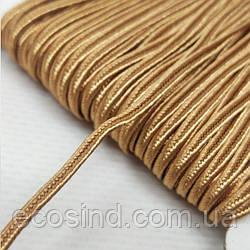 Цвет бронзовый шнур сутажный плоский 3мм, моток 46м. (СИНДТЕКС-1100)