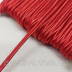 Цвет красный шнур сутажный плоский 3мм, моток 46м. (СИНДТЕКС-1105)