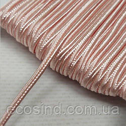 Цвет персиковый шнур сутажный плоский 3мм, моток 46м. (СИНДТЕКС-1107)