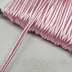 Цвет розовый шнур сутажный плоский 3мм, моток 46м. (СИНДТЕКС-1110)