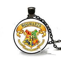 Подвеска медальон герб Хогвартса, чёрная кайма