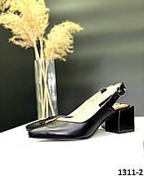 Босоніжки жіночі шкіряні чорні закритий гострий носочок з відкритою п'ятою на квадратному каблуці, фото 1