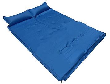 Самонадувний килимок, двомісний, з надувним підголовником, широкий, якісний, непромокаючий, комфортний
