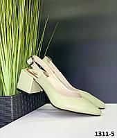 Босоножки женские кожаные фисташковые закрытый острый носочек с открытой пяткой на квадратном каблуке, фото 1