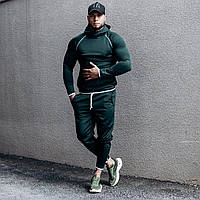 Костюм мужской спортивный темно-зеленый. Мужской спортивный костюм (худи + штаны) темно-зеленого цвета.