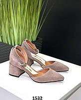 Класичні туфлі жіночі замшеві капучіно на підборах, фото 1