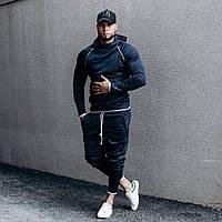 Костюм мужской спортивный темно-синий. Мужской спортивный костюм (худи + штаны) темно-синего цвета.