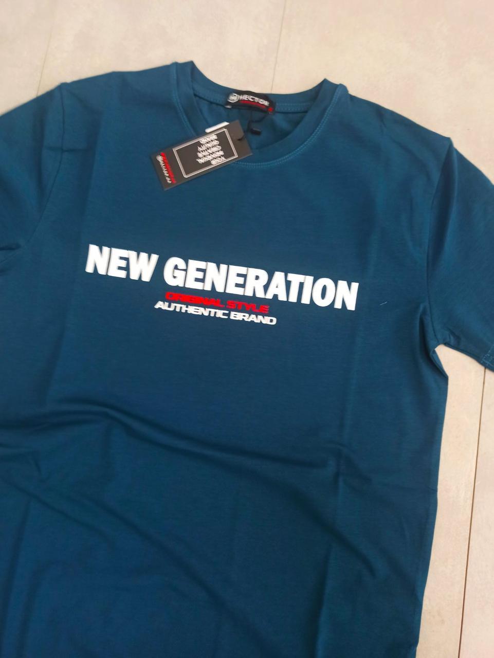 Чоловіча темно-синя бавовняна футболка з написом на грудях з круглою горловиною і коротким рукавом, фото 1