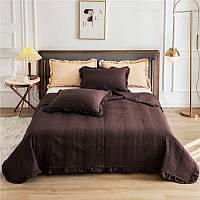 Стеганное покрывало для спальни двумя наволочками 220*240  коричневое