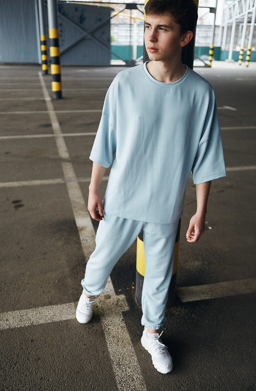Футболка штаны оверсайз мужской | Комплект летний голубой