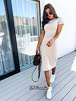 Женское летнее платье футболка за колено бежевое фиалка 42-44 46-48 хлопок миди популярное стильное