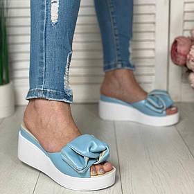 Голубые сабо на платформе 7см, кожа или замша размеры 36-41