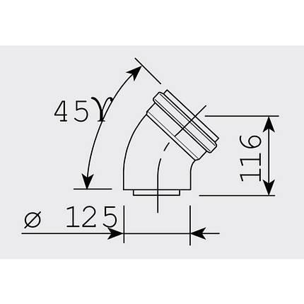 Кут коаксіальний Sime 45° 80х125, фото 2