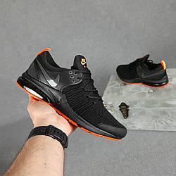 Мужские кроссовки Nike Air Presto (чёрные  с оранжевым) молодежные кроссы на баллоне О10463