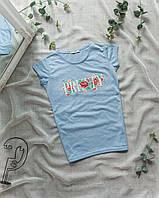 Женская футболка голубая Pretty