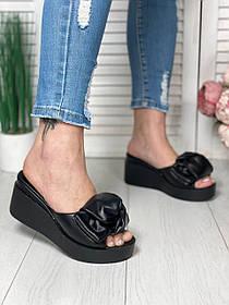 Черные кожаные Шлепанцы на платформе сабо на платформе 7см, кожа или замша размеры 36-41