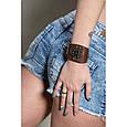 Оригінальний жіночий браслет-манжета з натуральної шкіри в стилі стімпанк, фото 2